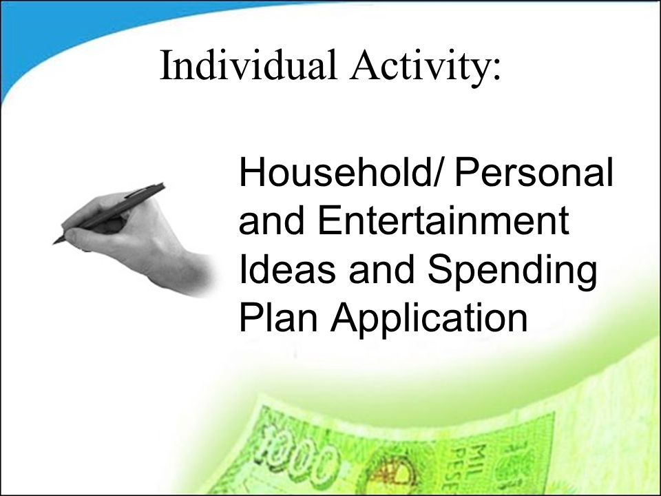 Household/ Personal and Entertainment Ideas and Spending Plan Application Individual Activity: