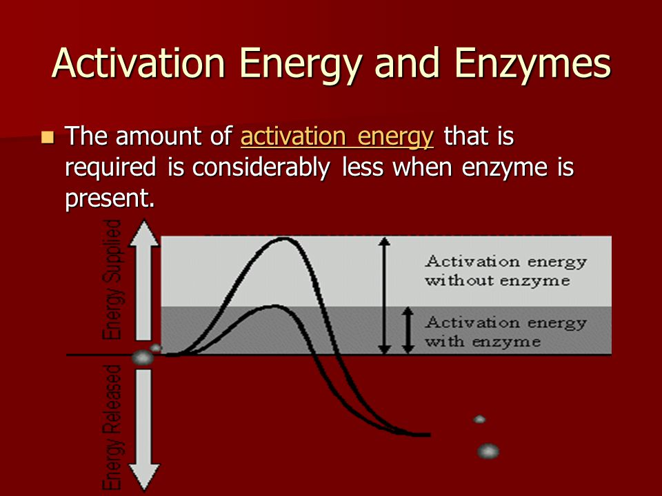 Activation Energy and Enzymes The amount of activation energy that is required is considerably less when enzyme is present.