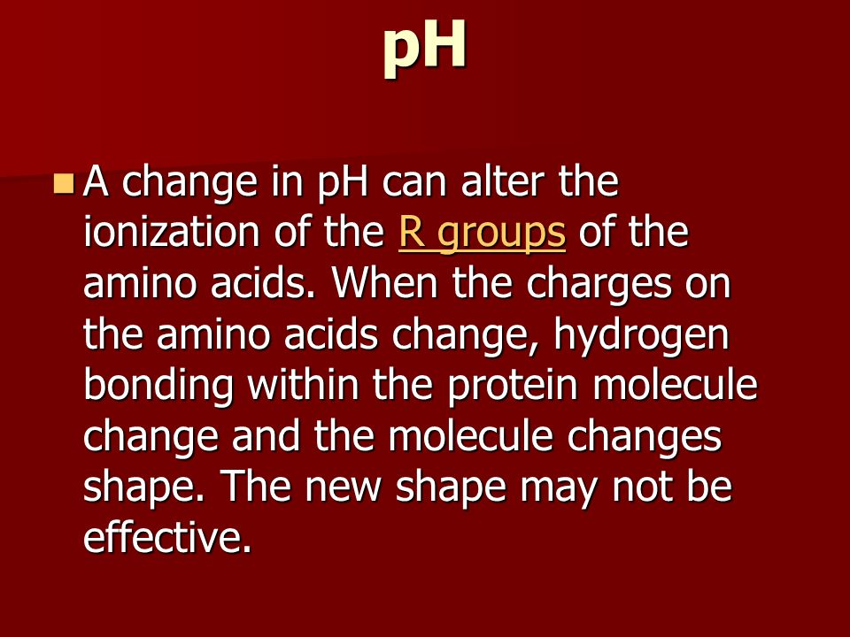 pH A change in pH can alter the ionization of the R groups of the amino acids.