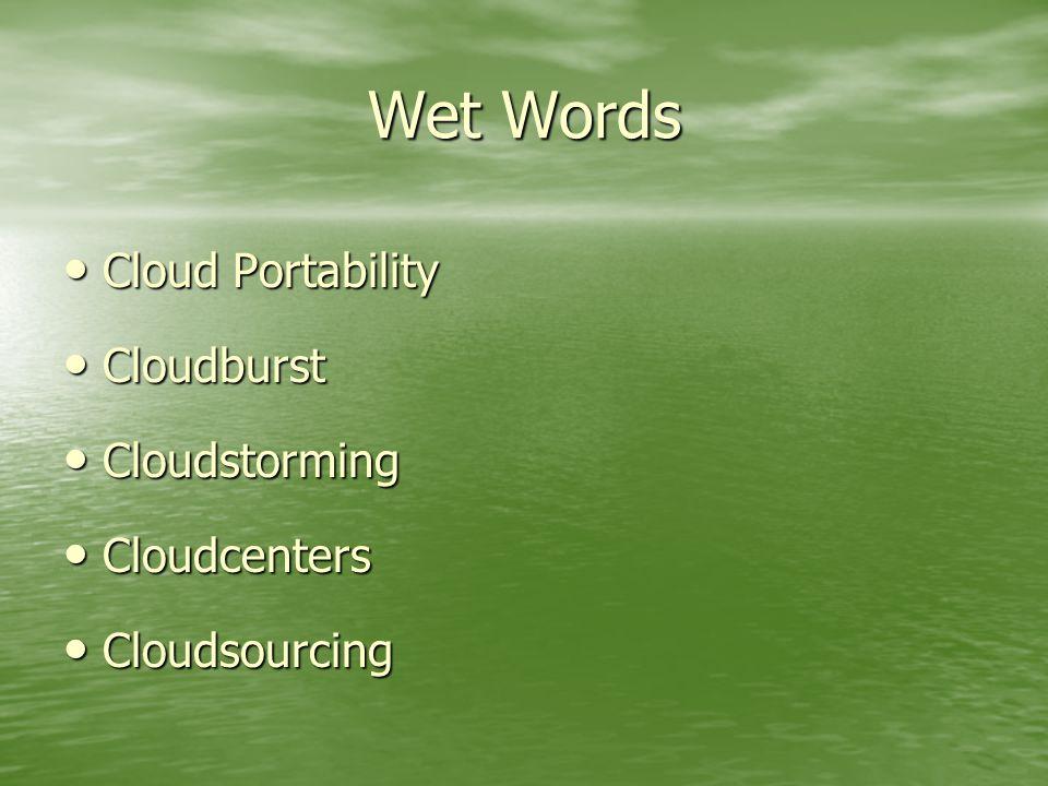 Wet Words Cloud Portability Cloud Portability Cloudburst Cloudburst Cloudstorming Cloudstorming Cloudcenters Cloudcenters Cloudsourcing Cloudsourcing