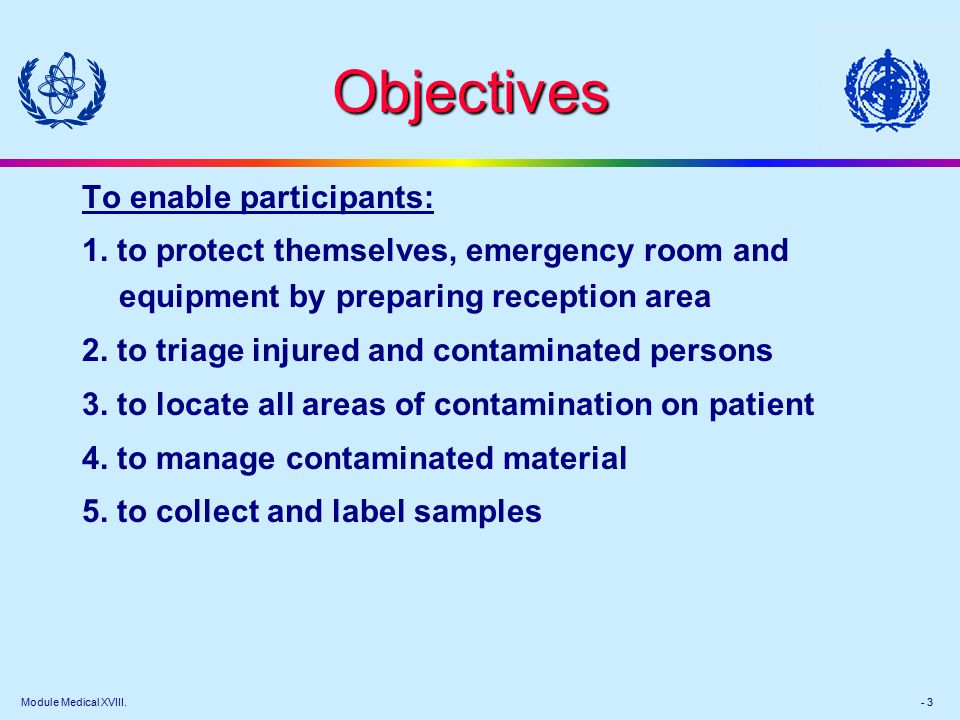 Module Medical XVIII. - 3 Objectives To enable participants: 1.