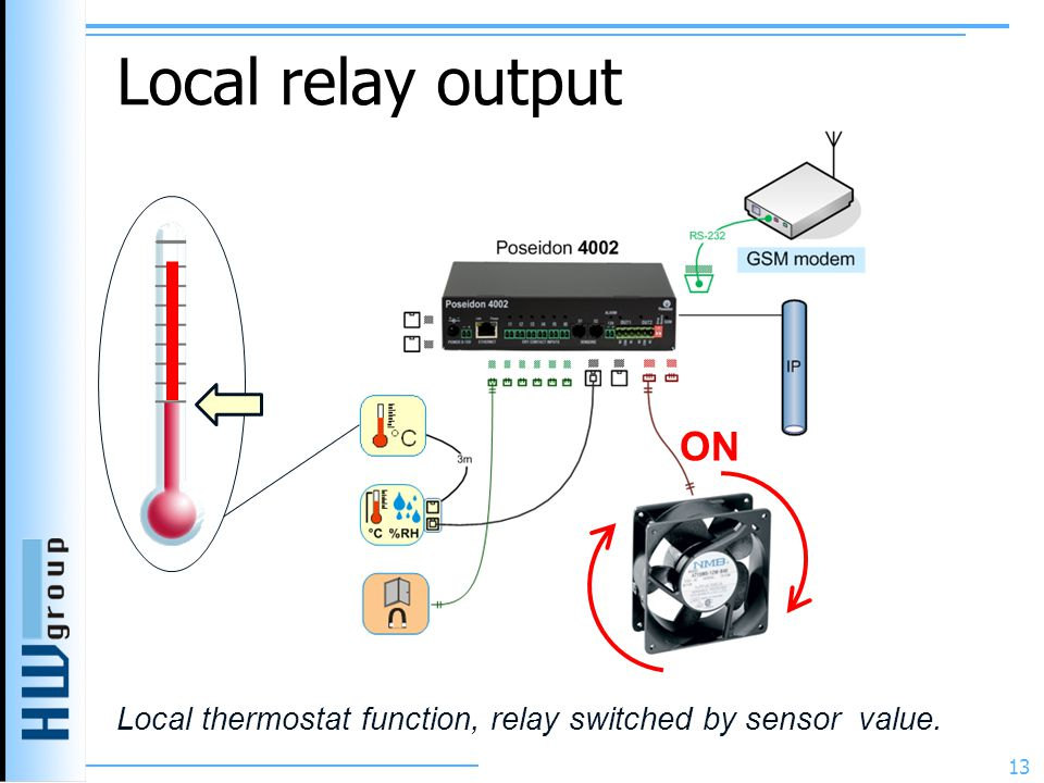 Local relay output 13 ON Local thermostat function, relay switched by sensor value.