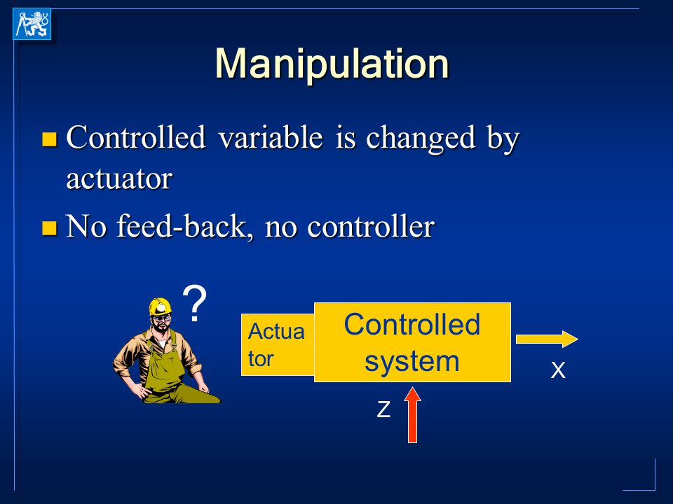 Manipulation Controlled variable is changed by actuator Controlled variable is changed by actuator No feed-back, no controller No feed-back, no controller Controlled system X Z Actua tor