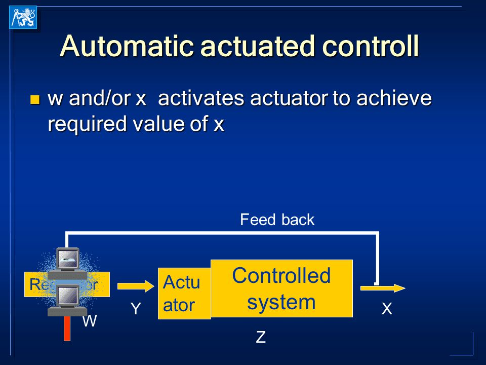 Automatic actuated controll w and/or x activates actuator to achieve required value of x w and/or x activates actuator to achieve required value of x Controlled system X Z Regulátor Y Actu ator Feed back W