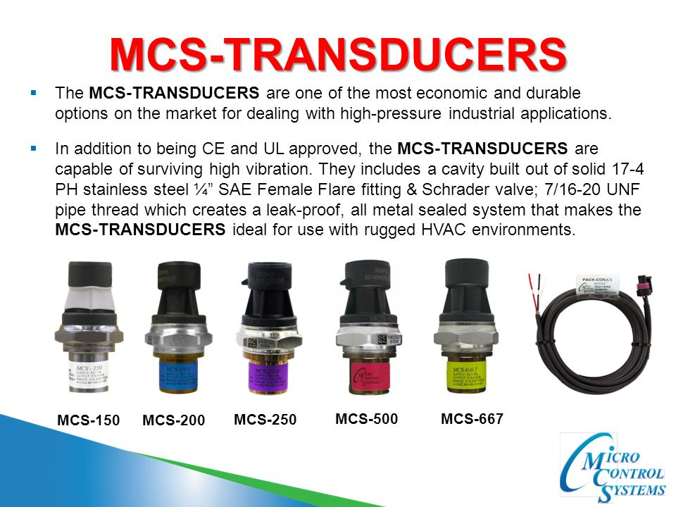 MCS-TRANSDUCERS  The MCS-TRANSDUCERS are one of the most economic and durable options on the market for dealing with high-pressure industrial applica