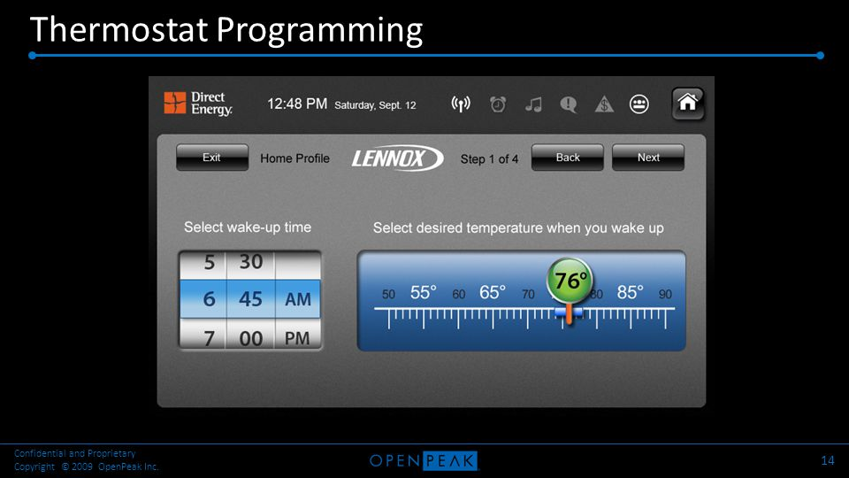 Thermostat Programming 14 Confidential and Proprietary Copyright © 2009 OpenPeak Inc.
