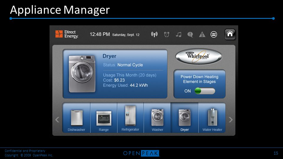 Appliance Manager 15 Confidential and Proprietary Copyright © 2009 OpenPeak Inc.