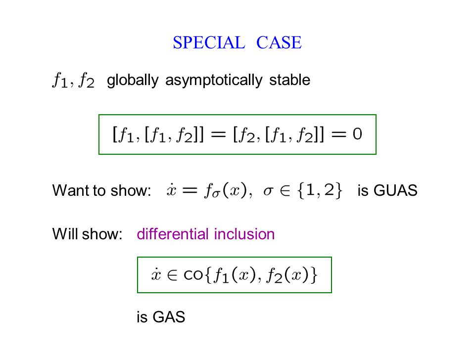SPECIAL CASE globally asymptotically stable Want to show: is GUAS Will show: differential inclusion is GAS