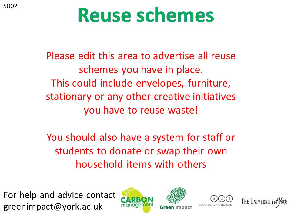 For help and advice contact greenimpact@york.ac.uk S007 S008 During summer, wear appropriate summer clothing made from natural fibres to keep cool.
