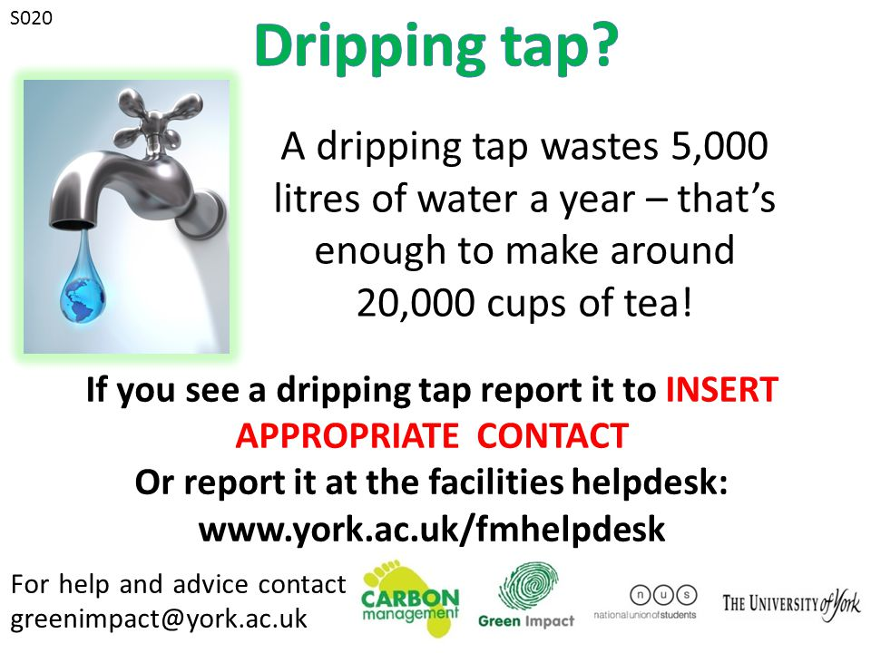 For help and advice contact greenimpact@york.ac.uk S020 A dripping tap wastes 5,000 litres of water a year – that's enough to make around 20,000 cups of tea.
