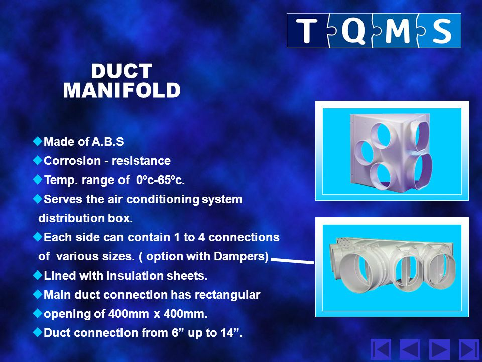 DUCT MANIFOLD  3 different types.  Without air flow control flap.  With manually operated deflection flap.  Duct manifold good for air conditionin