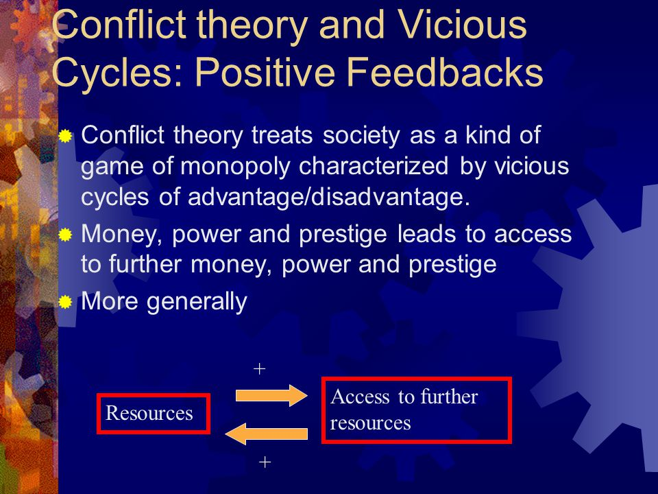 Conflict theory and Vicious Cycles: Positive Feedbacks  Conflict theory treats society as a kind of game of monopoly characterized by vicious cycles of advantage/disadvantage.