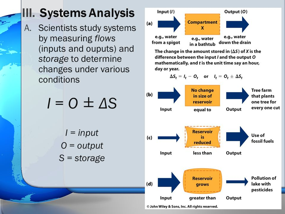 A.Scientists study systems by measuring flows (inputs and ouputs) and storage to determine changes under various conditions I = O ± Δ S I = input O =