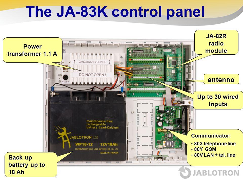 Back up battery up to 18 Ah JA-82R radio module Communicator: 80X telephone line 80X telephone line 80Y GSM 80Y GSM 80V LAN + tel. line 80V LAN + tel.