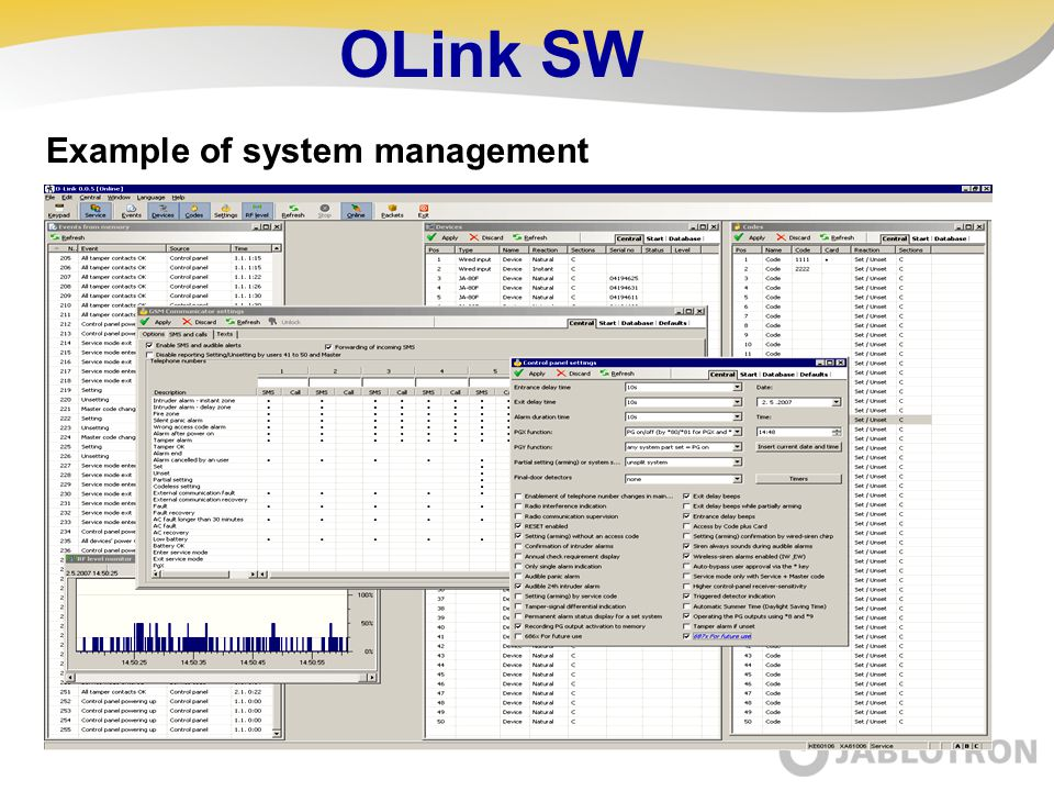 OLink SW Example of system management