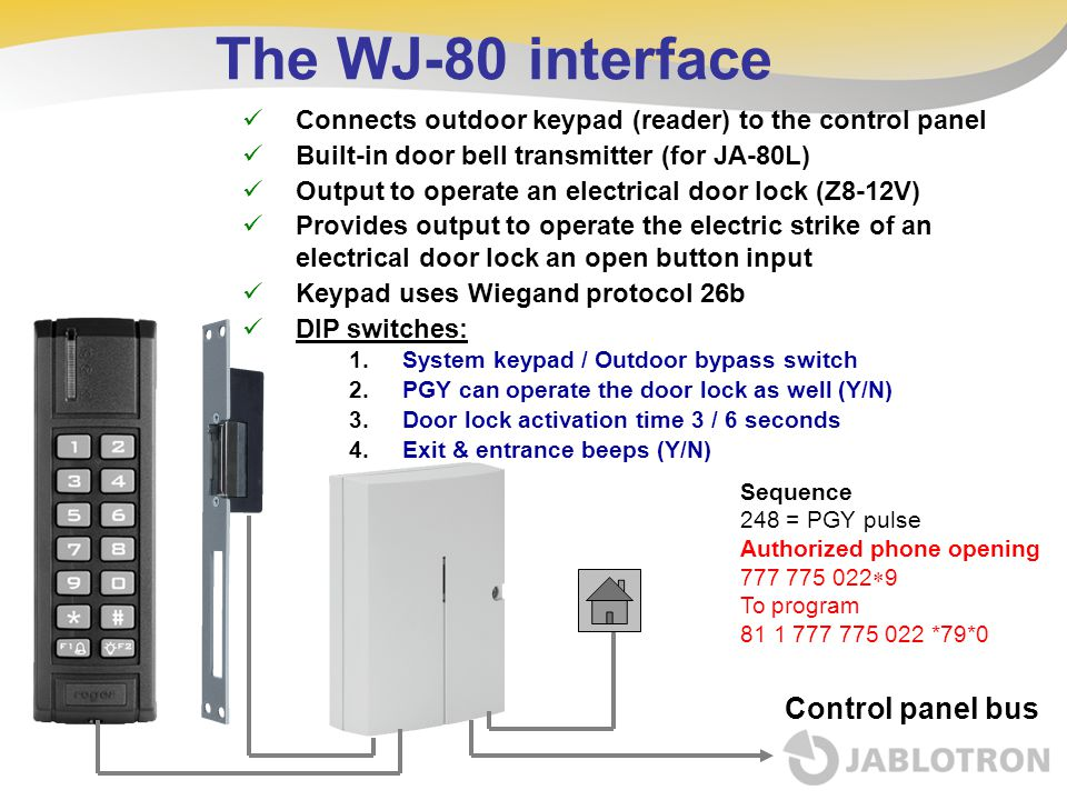 The WJ-80 interface Connects outdoor keypad (reader) to the control panel Built-in door bell transmitter (for JA-80L) Output to operate an electrical