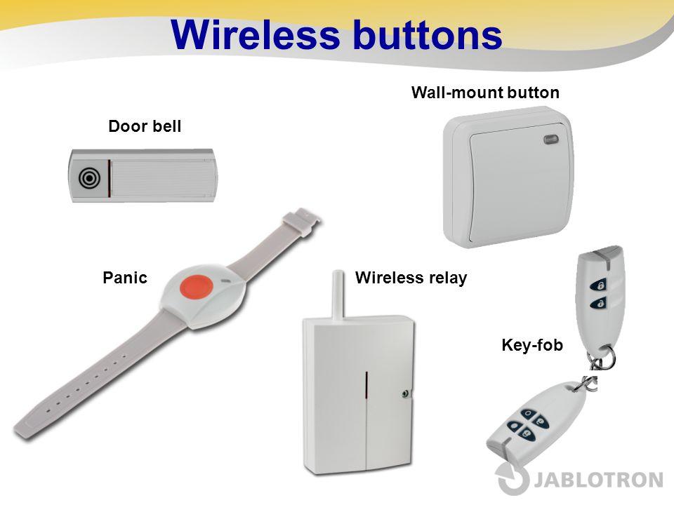 Wireless buttons Door bell Panic Wall-mount button Key-fob Wireless relay