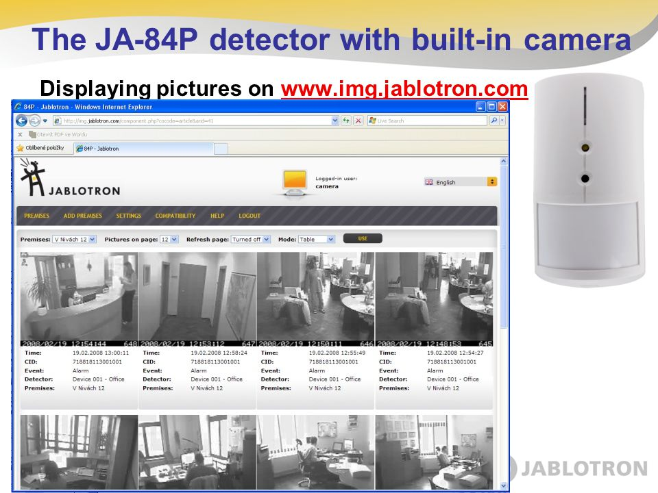 Displaying pictures on www.img.jablotron.com The JA-84P detector with built-in camera