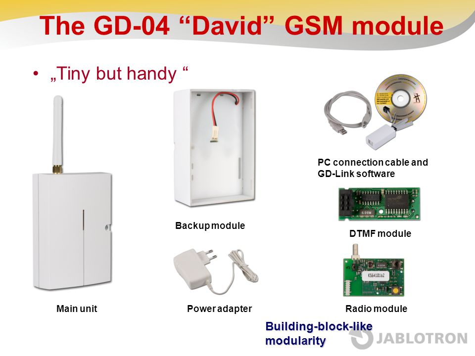 """The GD-04 """"David"""" GSM module """"Tiny but handy """" Main unit Backup module Power adapterRadio module DTMF module PC connection cable and GD-Link software"""