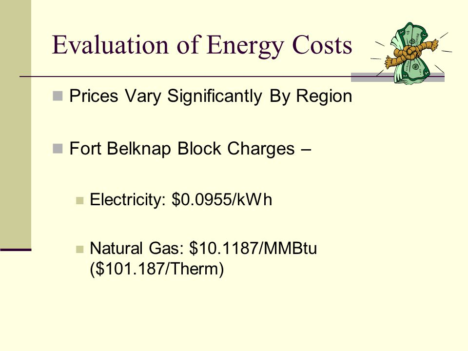 Evaluation of Energy Costs Prices Vary Significantly By Region Fort Belknap Block Charges – Electricity: $0.0955/kWh Natural Gas: $10.1187/MMBtu ($101.187/Therm)