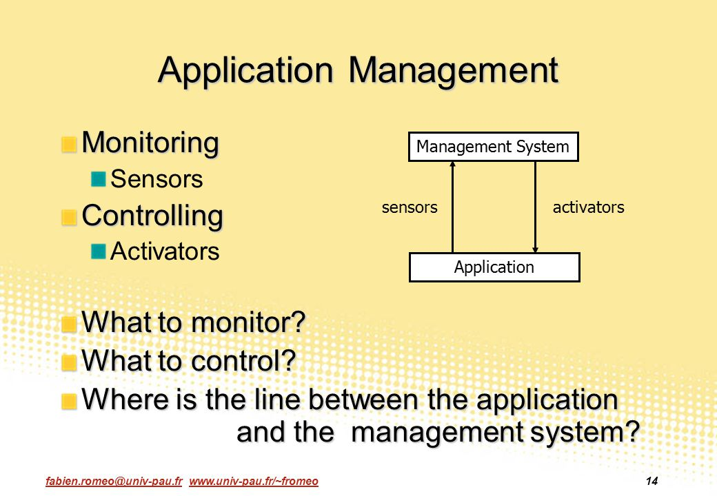 fabien.romeo@univ-pau.fr www.univ-pau.fr/~fromeo14 Application Management Monitoring SensorsControlling Activators What to monitor? What to control? W