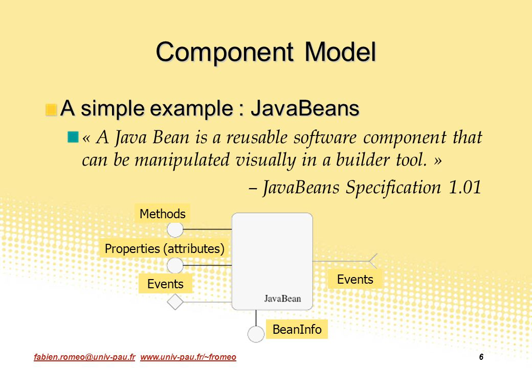 fabien.romeo@univ-pau.fr www.univ-pau.fr/~fromeo6 Component Model A simple example : JavaBeans « A Java Bean is a reusable software component that can