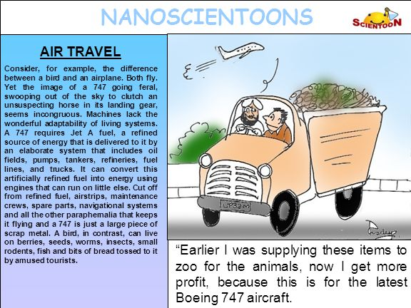 NANOSCIENTOONS AIR TRAVEL Consider, for example, the difference between a bird and an airplane.