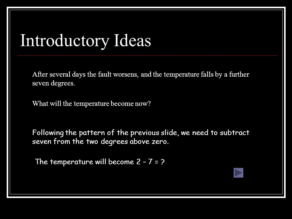 Introductory Ideas After several days the fault worsens, and the temperature falls by a further seven degrees.