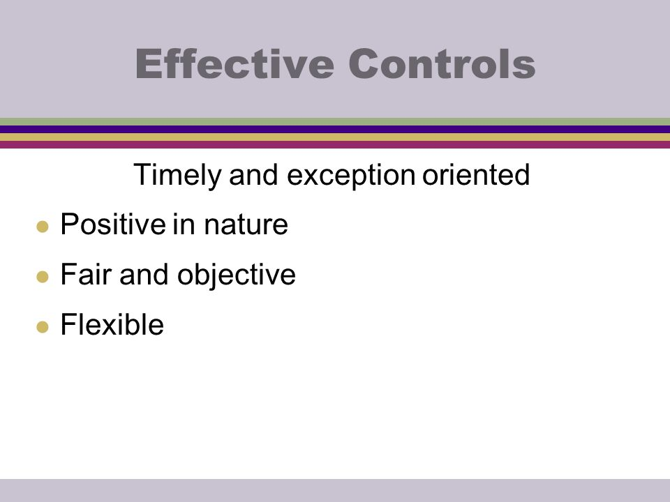 Effective Controls Timely and exception oriented l Positive in nature l Fair and objective l Flexible