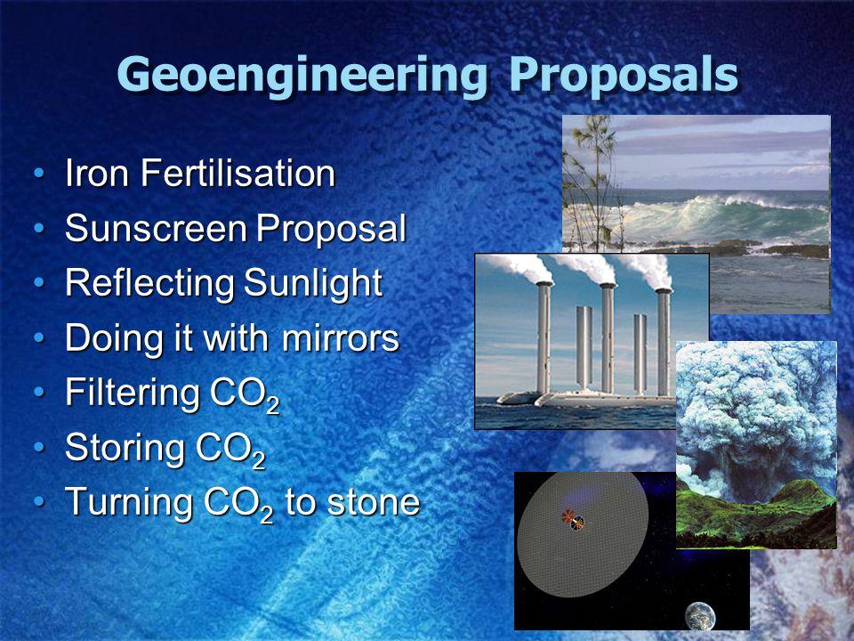 Geoengineering Proposals Iron FertilisationIron Fertilisation Sunscreen ProposalSunscreen Proposal Reflecting SunlightReflecting Sunlight Doing it with mirrorsDoing it with mirrors Filtering CO 2Filtering CO 2 Storing CO 2Storing CO 2 Turning CO 2 to stoneTurning CO 2 to stone