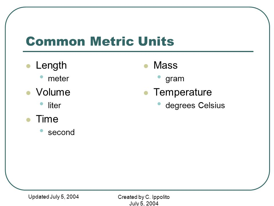 Updated July 5, 2004 Created by C. Ippolito July 5, 2004 Common Metric Units Length meter Volume liter Time second Mass gram Temperature degrees Celsi
