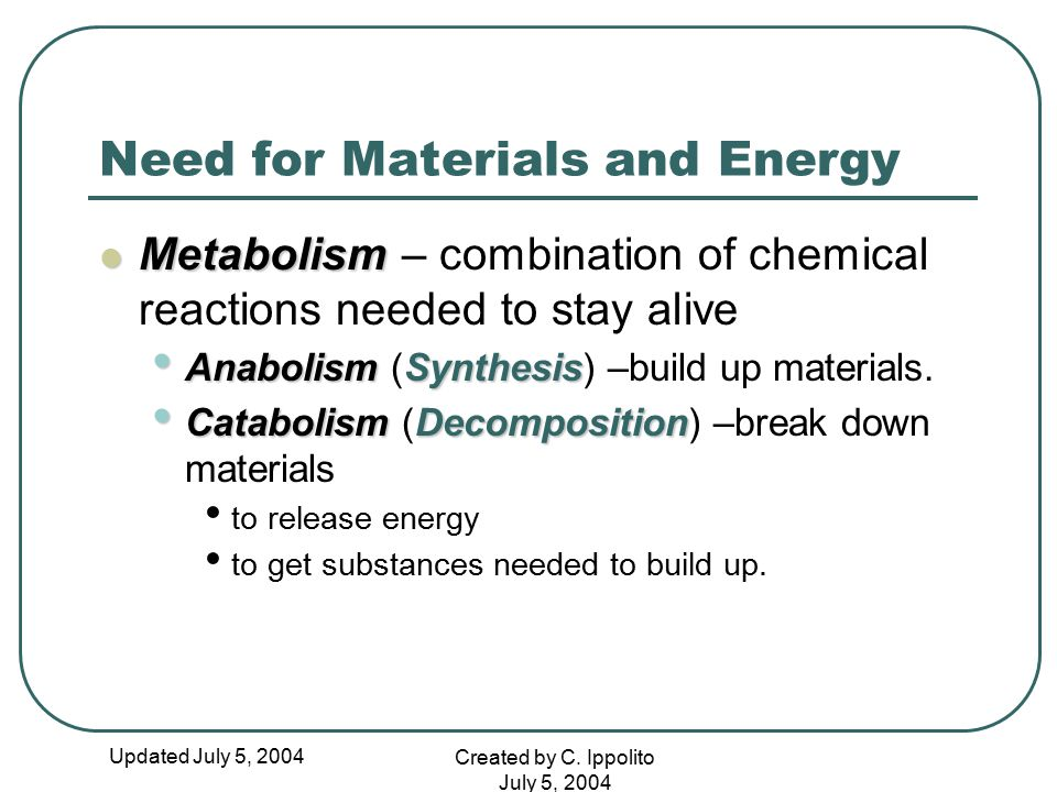Updated July 5, 2004 Created by C. Ippolito July 5, 2004 Need for Materials and Energy Metabolism Metabolism – combination of chemical reactions neede
