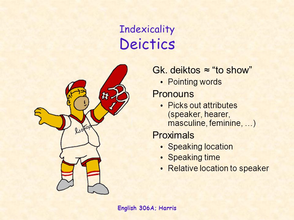 """English 306A; Harris Indexicality Deictics Gk. deiktos ≈ """"to show"""" Pointing words Pronouns Picks out attributes (speaker, hearer, masculine, feminine,"""