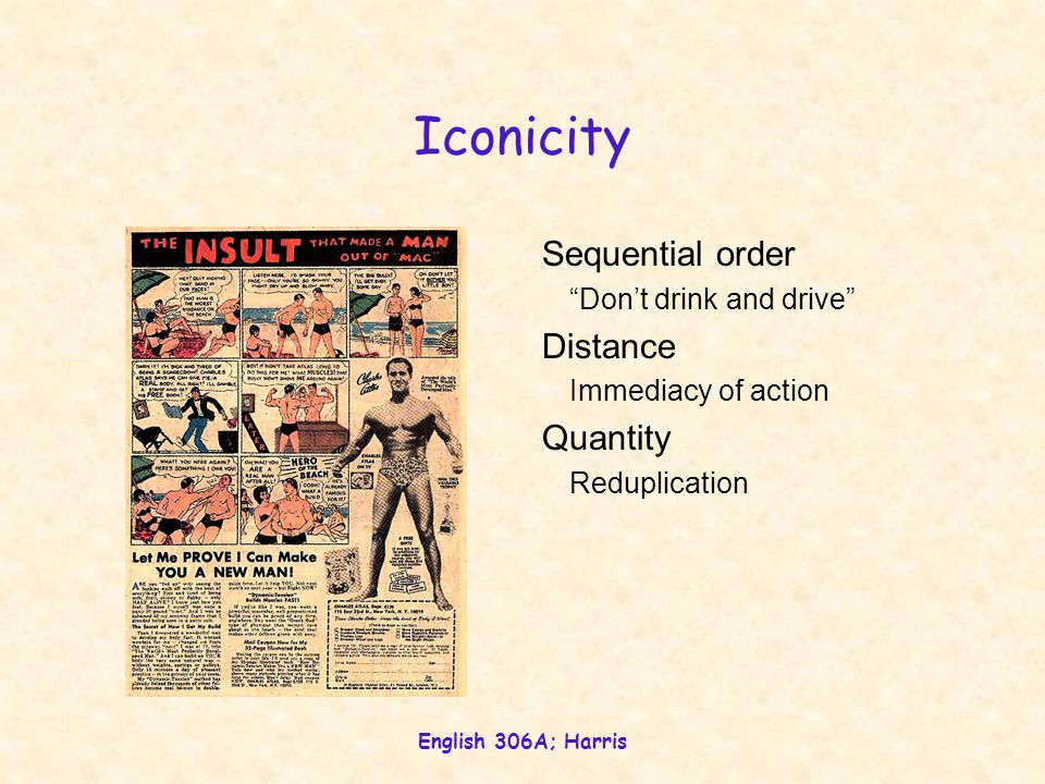 """English 306A; Harris Iconicity Sequential order """"Don't drink and drive"""" Distance Immediacy of action Quantity Reduplication"""