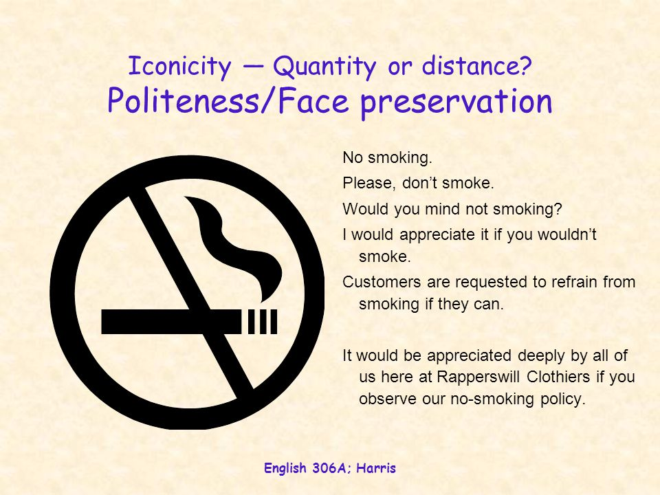 English 306A; Harris Iconicity — Quantity or distance? Politeness/Face preservation No smoking. Please, don't smoke. Would you mind not smoking? I wou