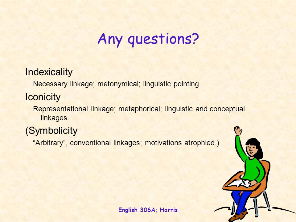 English 306A; Harris Any questions? Indexicality Necessary linkage; metonymical; linguistic pointing. Iconicity Representational linkage; metaphorical