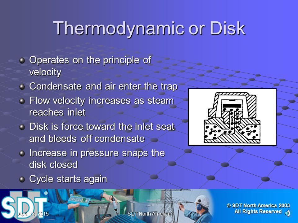 © SDT North America 2003 All Rights Reserved April 18, 2015April 18, 2015April 18, 2015SDT North America Ultrasonic Testing Thermostatic/Bimetallic Tr