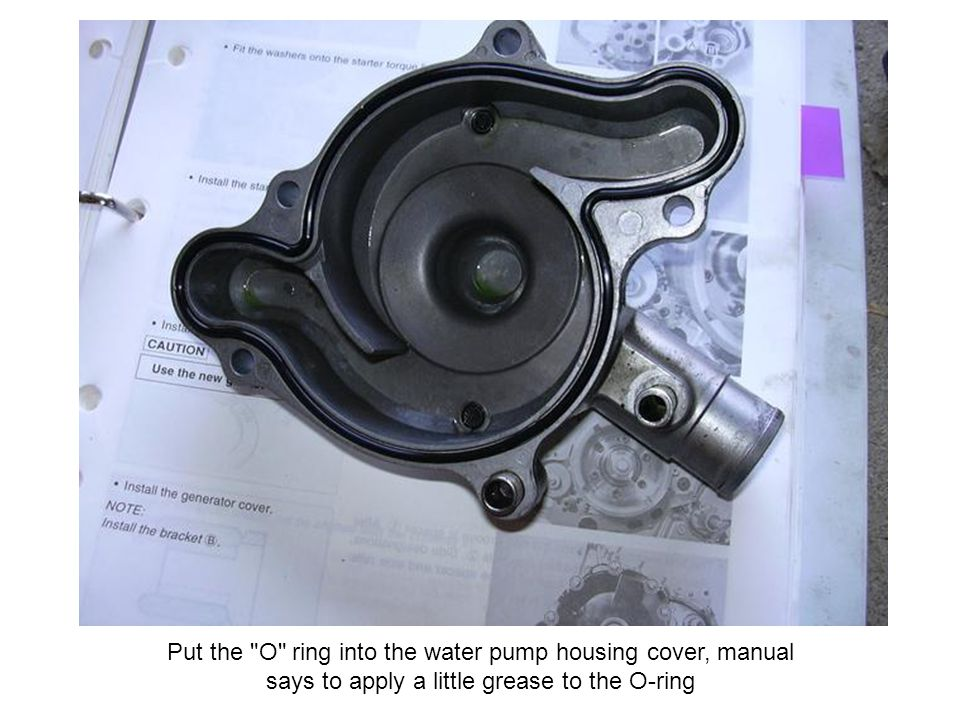 Put the O ring into the water pump housing cover, manual says to apply a little grease to the O-ring