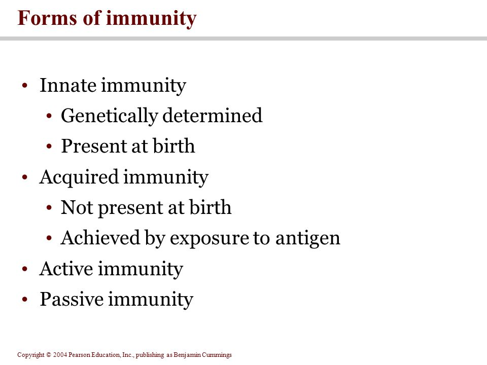 Copyright © 2004 Pearson Education, Inc., publishing as Benjamin Cummings Forms of immunity Innate immunity Genetically determined Present at birth Ac