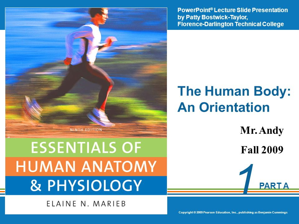 PowerPoint ® Lecture Slide Presentation by Patty Bostwick-Taylor, Florence-Darlington Technical College Copyright © 2009 Pearson Education, Inc., publishing as Benjamin Cummings PART A 1 The Human Body: An Orientation Mr.