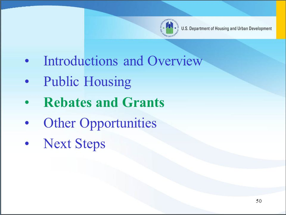 50 Introductions and Overview Public Housing Rebates and Grants Other Opportunities Next Steps