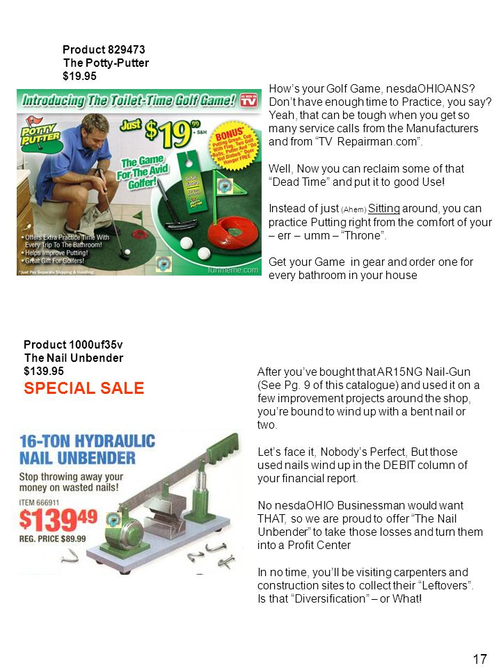 17 Product 829473 The Potty-Putter $19.95 How's your Golf Game, nesdaOHIOANS.