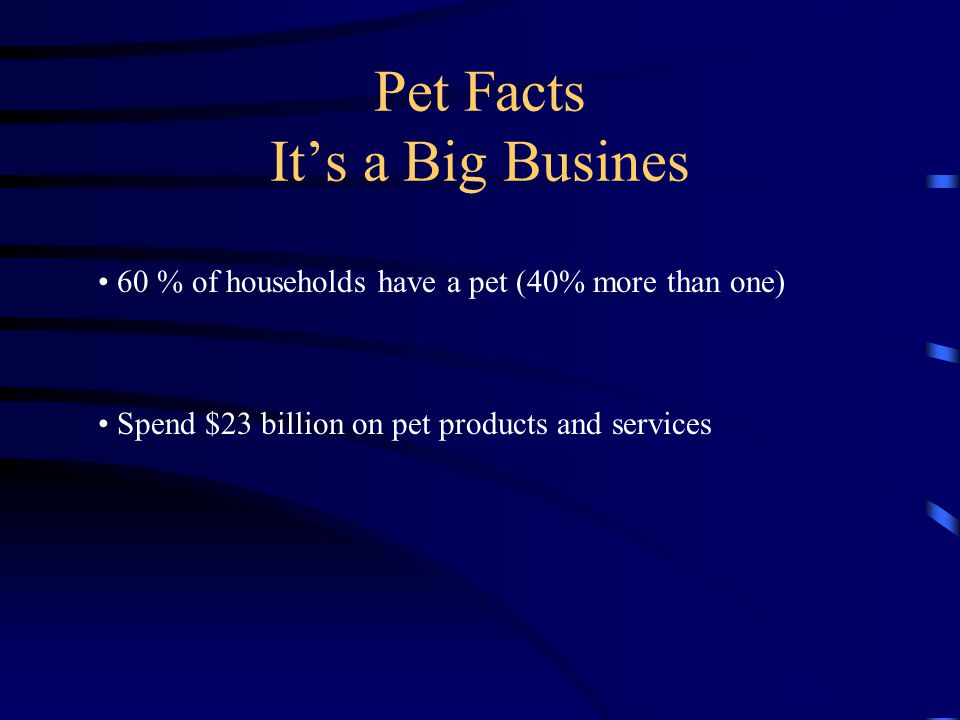 Pet Facts It's a Big Busines 60 % of households have a pet (40% more than one) Spend $23 billion on pet products and services
