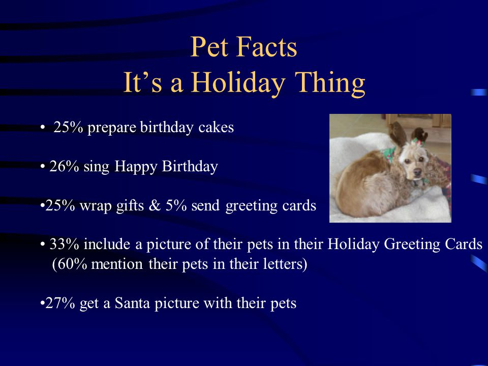 Pet Facts It's a Holiday Thing 25% prepare birthday cakes 26% sing Happy Birthday 25% wrap gifts & 5% send greeting cards 33% include a picture of their pets in their Holiday Greeting Cards (60% mention their pets in their letters) 27% get a Santa picture with their pets