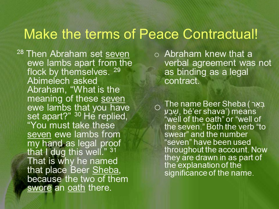 Make the terms of Peace Contractual.