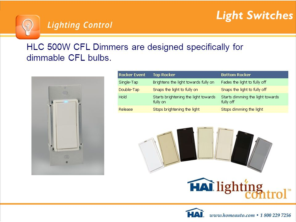 Light Switches HLC 500W CFL Dimmers are designed specifically for dimmable CFL bulbs.