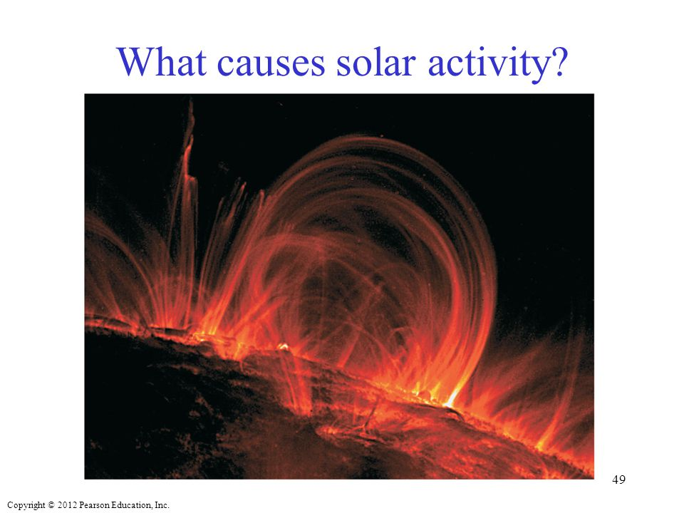 Copyright © 2012 Pearson Education, Inc. What causes solar activity? 49