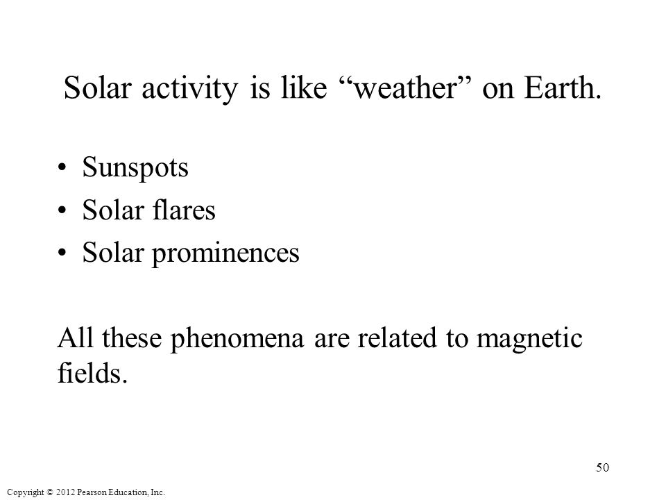 Copyright © 2012 Pearson Education, Inc. Solar activity is like weather on Earth.