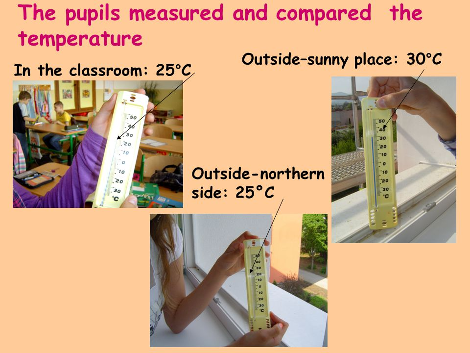 The pupils measured and compared the temperature In the classroom: 25°C Outside–sunny place: 30°C Outside-northern side: 25°C