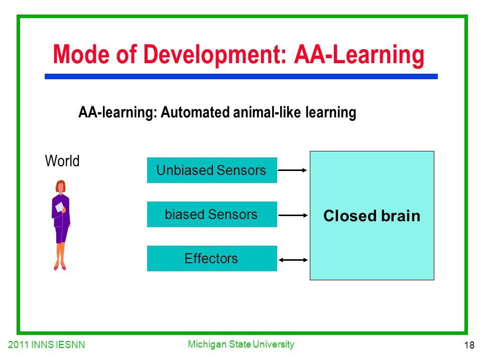 2011 INNS IESNN 18 Michigan State University Mode of Development: AA-Learning AA-learning: Automated animal-like learning Unbiased Sensors biased Sens